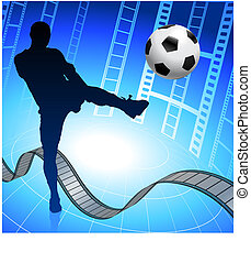 Soccer Player on Film Reel Background