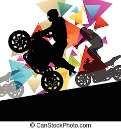 Motorcycle performance extreme stunt driver man and woman in...