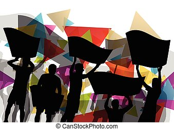 People silhouettes of cheering or protesting man and women...