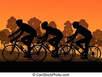 Bicyclist riding bicycle group marathon background...