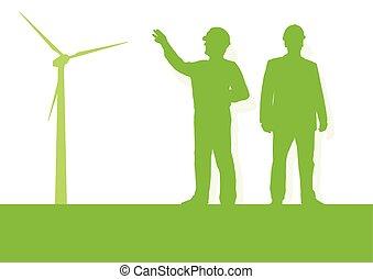 Vector of Engineer technician green energy wind turbine power ...
