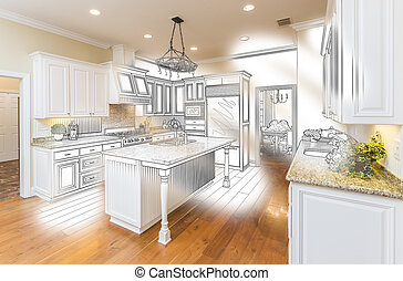 Custom Kitchen Design Drawing and Brushed Photo Combination...
