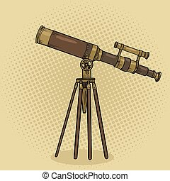 Old telescope pop art style vector illustration. Comic book...