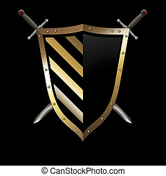 Gold shield and swords on black background. - Gold riveted...