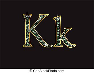 Kk in Emerald Jeweled Font