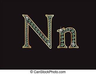 Nn in Emerald Jeweled Font