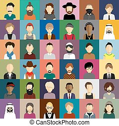 People icons set in flat style with faces of men and boys -...