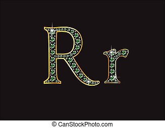 Rr in Emerald Jeweled Font