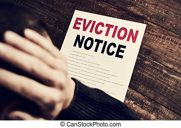young man who has received an eviction notice - a young...