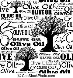 oliva, olio, seamless, pattern.,