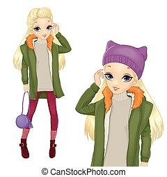 City Style Blonde Girl In Greeen Coat - Vector illustration...