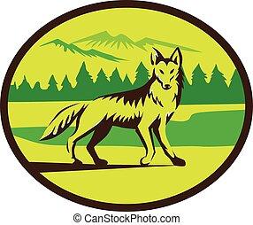 Coyote Mountain Landscape Oval Retro