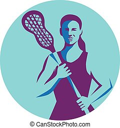 Female Lacrosse Player Stick Circle Retro - Illustration of...