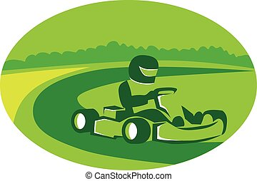 Go Kart Racing Oval Retro - Illustration of a man in a go...