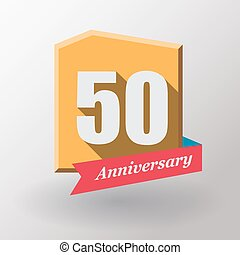 50 Anniversary   label with ribbon.