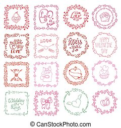 Love heart doodle brushesValentine,wedding framePink -...