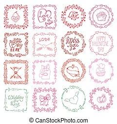Love heart doodle brushes.Valentine,wedding frame.Pink -...