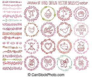 Love heart doodle brushes.Valentine,wedding wreath.Color -...