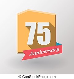 75 Anniversary   label with ribbon.