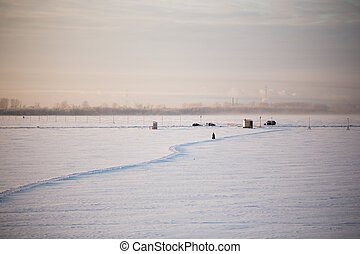 Winter ice crossing over the Dvina near the city of...