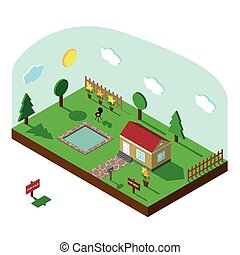 Isometric house.3D Village landscape with sky - Modern 3D...