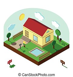 Isometric house. 3D Village landscape, summer yard, sky -...