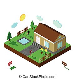 Isometric house. 3D Village landscape, summer yard - Modern...