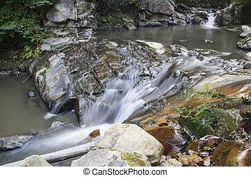 Waterfall on the brook - Cool mountain brook waterfall,...