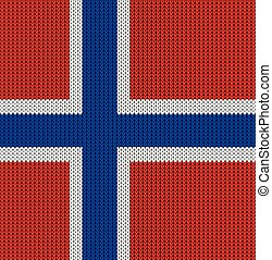 Knitted flag of Norway Background vector illustration 10 EPS...