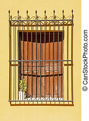 Old wrought iron grill window - Old, colonial style, window...