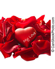 Red rose petals with heart