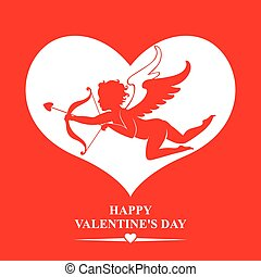 Valentines with Cupid in heart on red background - Vector...