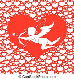 Valentines card with Amur in heart on red background -...