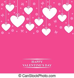 Valentines card with hearts labels on magenta background