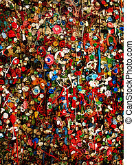 Seattle Famous Gum Wall - Detail of Gum Wall near Pikes...
