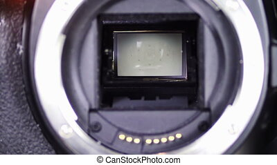 DSLR Camera shutter 1 - Moment of SLR of photographing,...