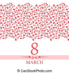 8 March card congratulations with horizontal pink tulips