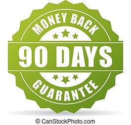 90 days money back green icon on white background