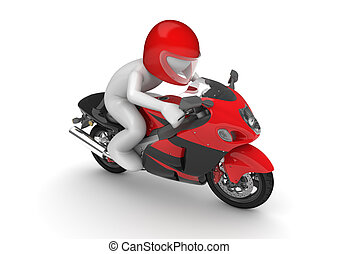 Motorcyclist - 3d isolated on white background characters...