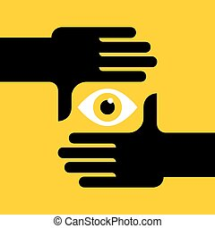 Hand frame. Vector art. - hand gesture of process of taking...