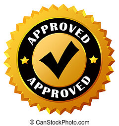 Approved gold seal on white background