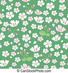Apple Tree Flowers Seamless Pattern - Seamless Pattern With...