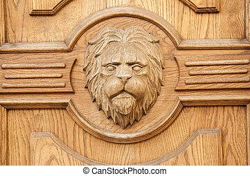 Lion fragment carved door