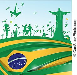 brazil background with flag and symbol set