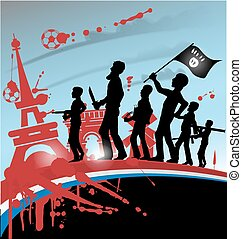 ISIS terrorist silhouette on france symbol and flag