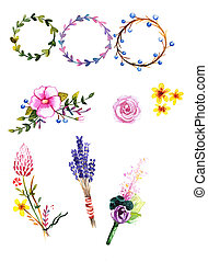 Set of watercolor flowers Hand drawn illustration