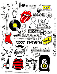 Set of music doodles - Image with set of music doodles Hand...
