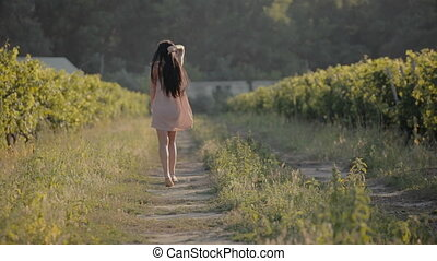 Carefree girl walking along the vineyards - Carefree girl in...