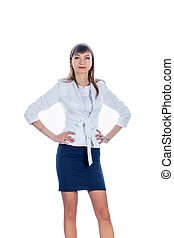 business woman in a short skirt, frontally