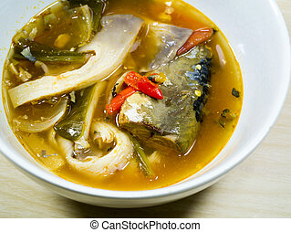 spicy fish soup - Spicy fish soup and mushroom